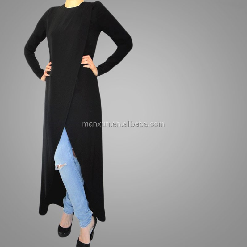 2cf9d9dc0 New Fashion Women Kimono Muslim Cardigan Plain Blouses Black Ladies Long  Sleeve Tops - Buy Latest Long Sleeve Tops,Ladies Work Blouses Long ...