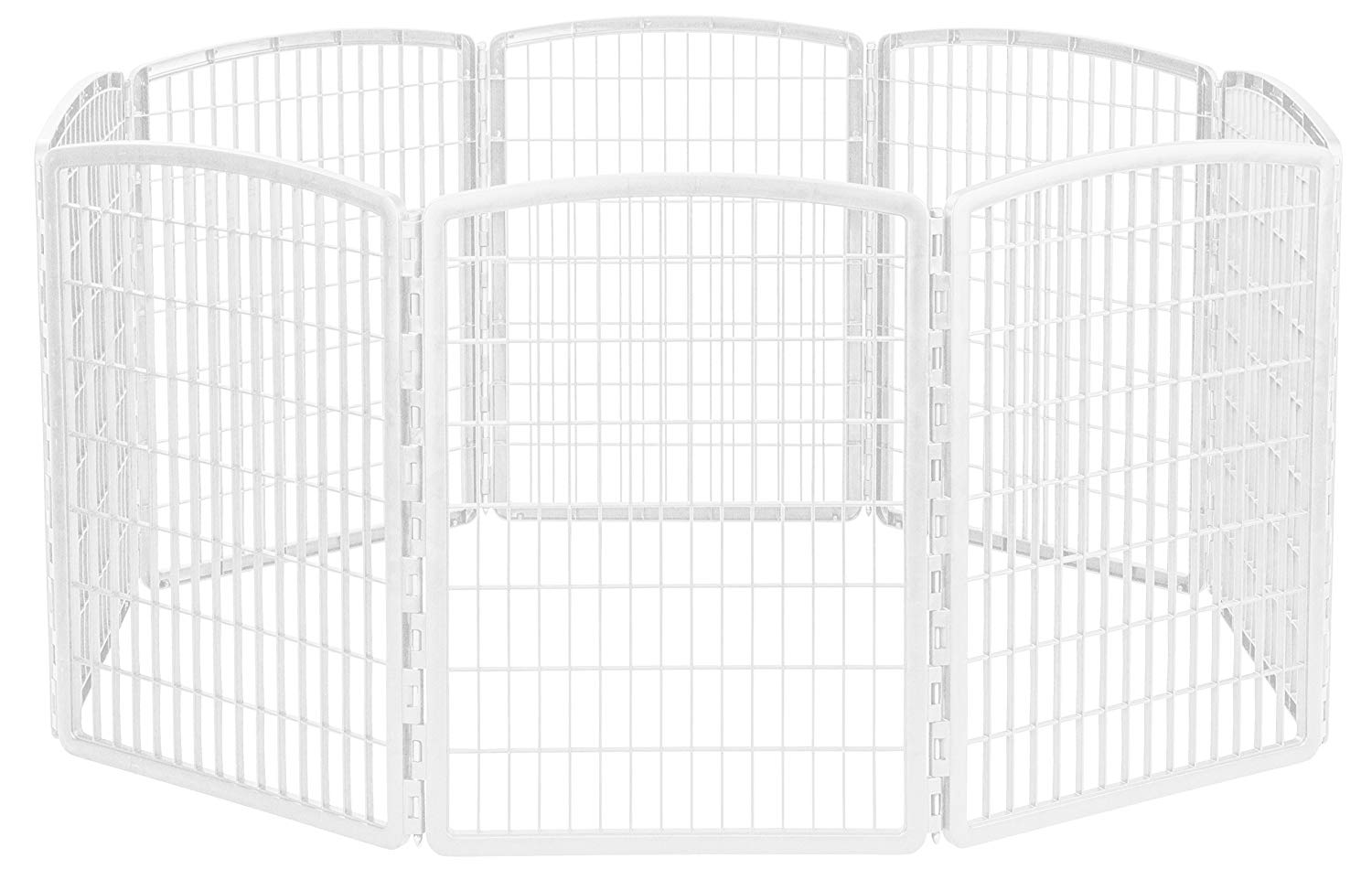 IRIS 34'' Exercise 8-Panel Pet Playpen without Door, White