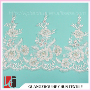 WHB-109 Guangzhou Wholesale gold Crochet Pearl Lace Trim for Latest Fashion Dresses