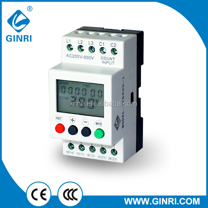 GINRI High quality over under voltage relay/voltage lcd monitoring relay for motor refrigerator equipment 208V-480VAC 50/60Hz