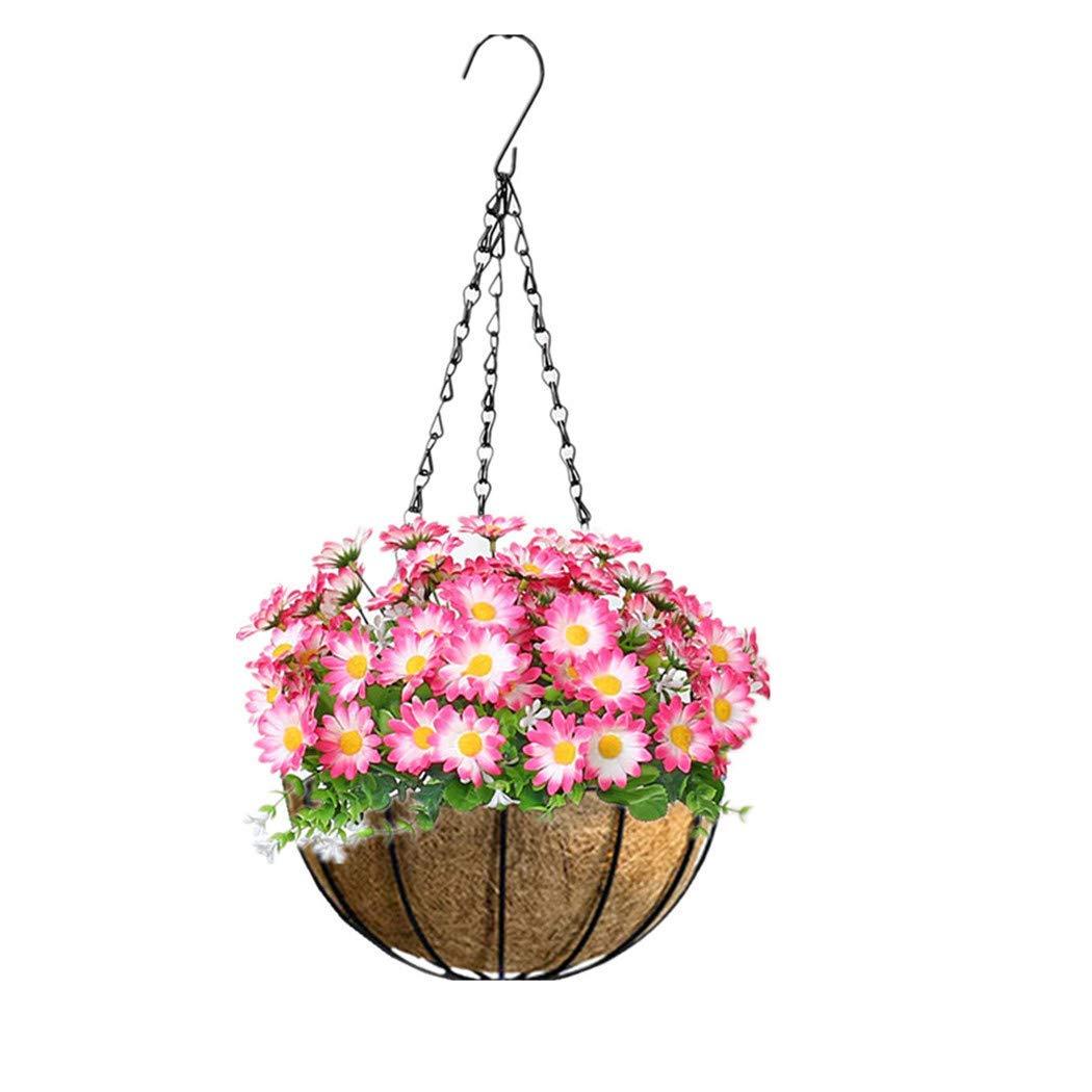 Mynse Hanging Mini Artificial Sunflower Flowerpot for Indoor Outdoor Garden Home Christmas Decoration Hanging Basket Artificial Silk Flowers Pink (Big Basket)