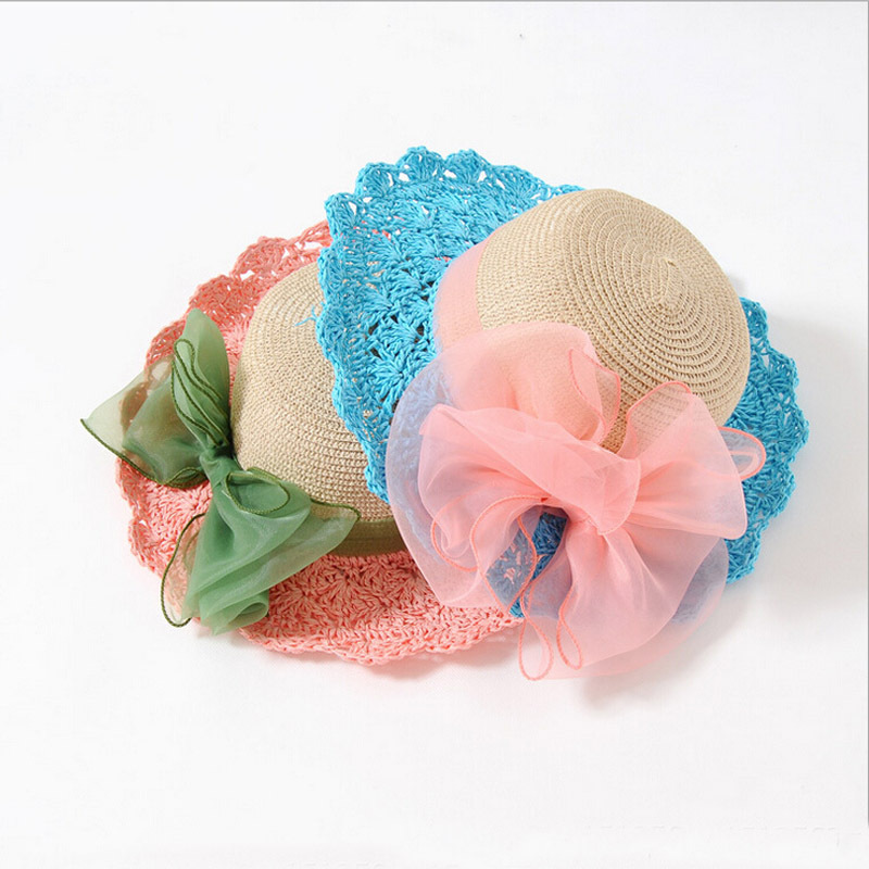 2015 Fashion Big Lace Bowknot girl summer hat beautiful kids straw hat beach hat lovely bownot