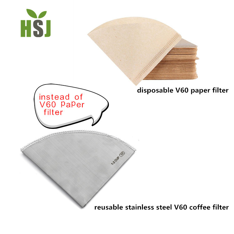 replace disposable paper filter,  reusable V60 stainless steel coffee filter