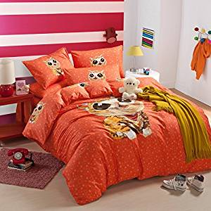 Cute Kitty Orange Bedding Duvet Cover Set Cartoon Kids S Gift Idea Queen Size In Price On M Alibaba