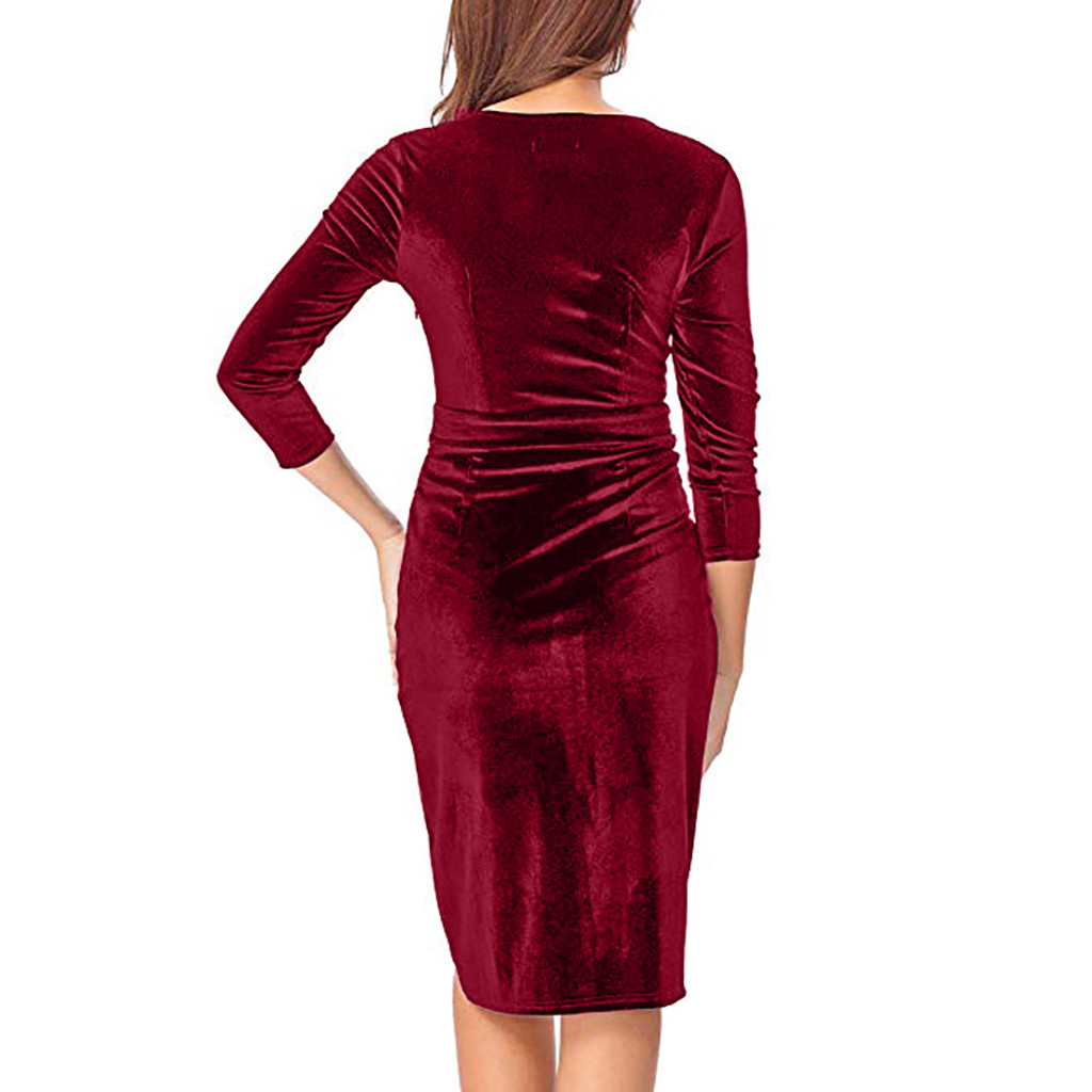 red dresses for woman Sexy V Neck 3 4 Sleeve Knee Length Dress Party Club  Wrap Tea Dress womens office bodycon dress vestidos 14744827b6ac