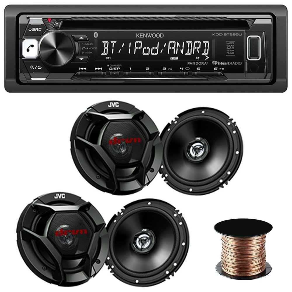 "Kenwood KDC-BT265U Single DIN Bluetooth In-Dash CD/AM/FM Car Stereo + (2x) JVC CS-DR620 6-1/2"" 2-way car speakers + Speaker Wire 50 feet 18 gauge"