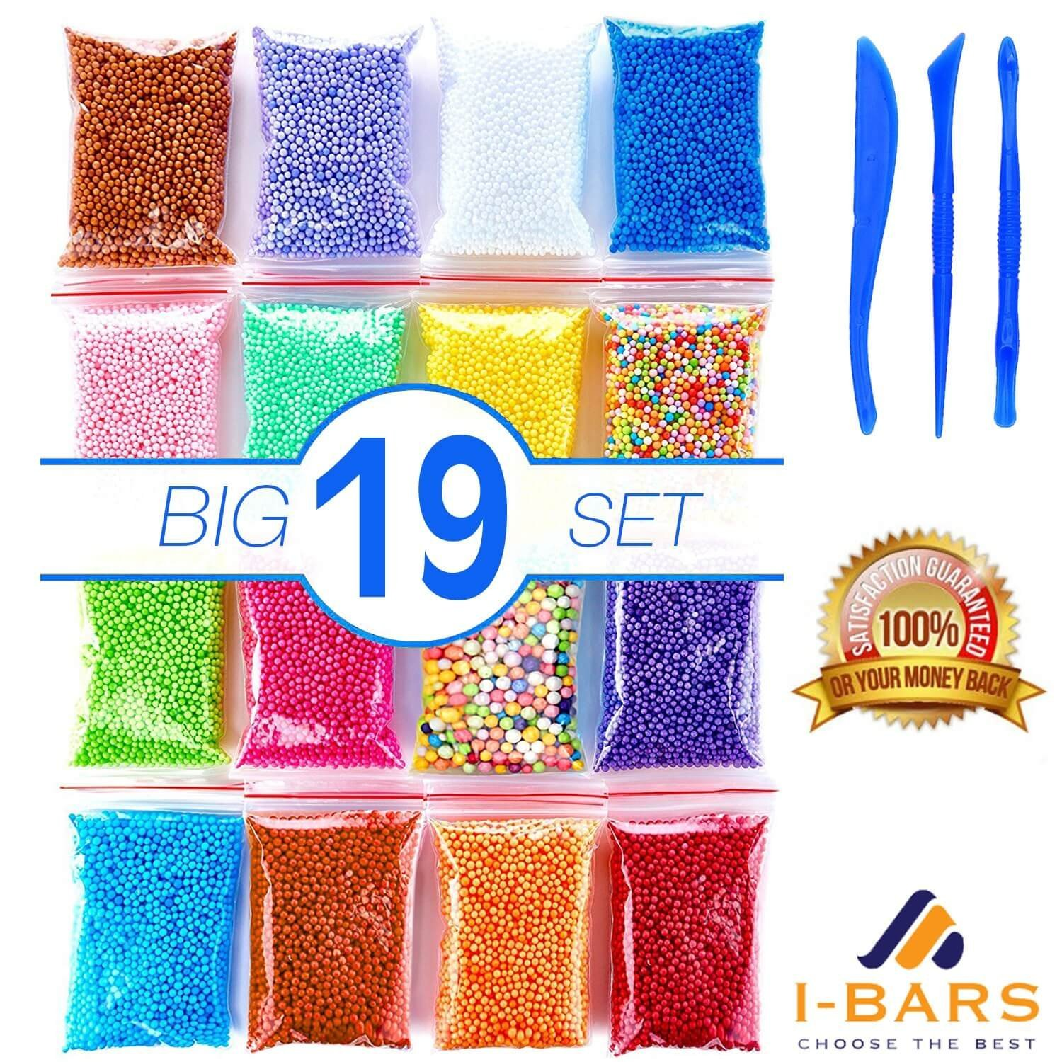 Foam Beads for Slime | Micro Floam Beads 16 Pack | Craft Foam Beads for Soft Clay | Colorful Micro Foam Beads Balls for DIY Slime | 16 Bags (80000) Foam Balls and 3 Slime Tools | Newest 2018 |