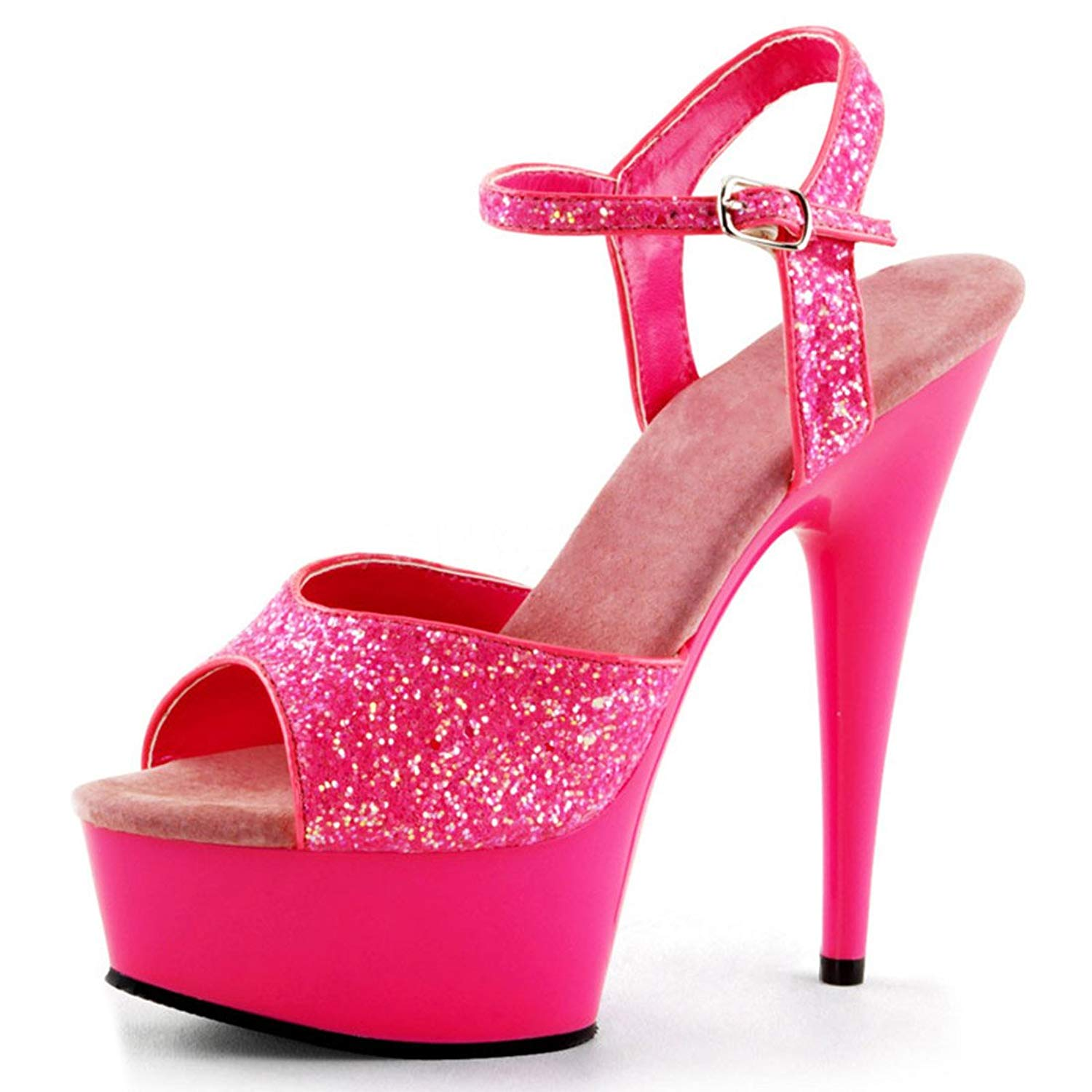 e7ac22a03d Get Quotations · Summitfashions Fun and Sexy UV Reflective Neon Pink Heels  with Glitter Straps and 6 Inch Heel