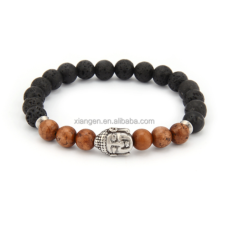 Muslim buddha loose wooden prayer beads and lava rock beads stone bracelet with buddhist head