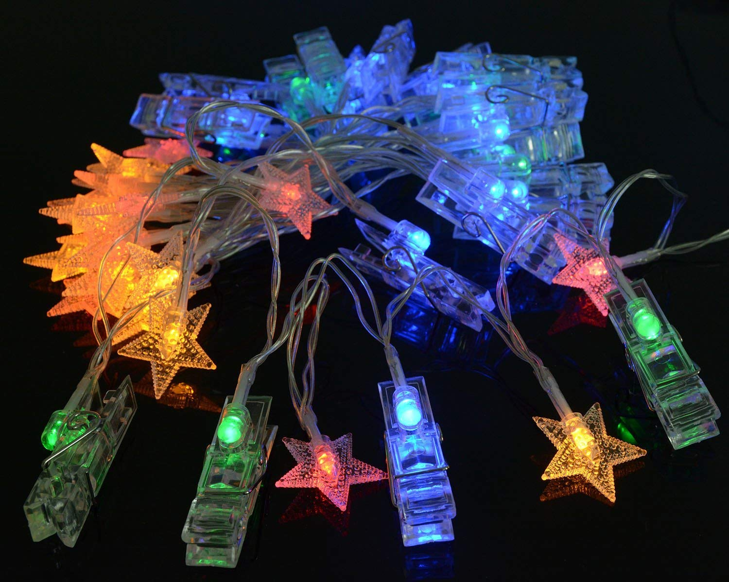 Viewpick Multicolor LED Photo Clips Star Twinkle String Lights 40 LEDs-20 Clip Lights and 20 Star Lights Battery Operated Fairy Lights with 2 Modes for Hanging Photos Artworks Cards Party Christmas