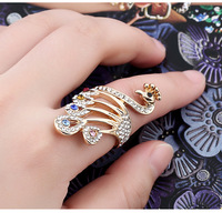 C34 Dvacaman 2019 Fashionable Peacock Crystal Rhinestone Unique Ring Alloy Hand Ornaments Women Jewelry Valentine's day Party