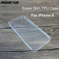 2017 Ultra Slim Thin 0.8mm Crystal Transparent Clear Soft Gel TPU Phone Cover Case for iphone 8