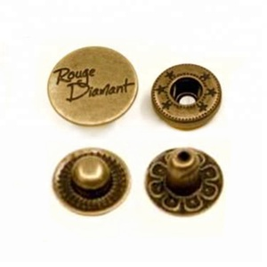 Decorative Round Engraved Brass Custom Metal Snap Fasteners Snap Button for Clothing