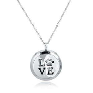 New Hot Selling Jewelry LOVE & Dog Paw Print Round Pendant Keepsake Necklace with Personalized Engraving