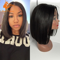 7A Quality Silky Straight Natural Black Bob Lace Wig Unpocessed Brazilian Hair Front Lace Wigs Remy Human Hair Bob Style