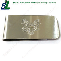 Customized stamped logo silver dollar money clip