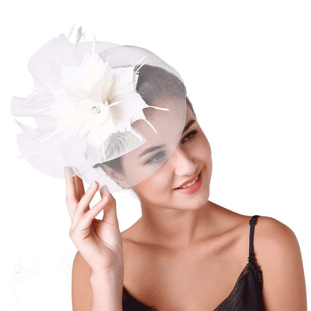 Get Quotations · ZYCC Women Fascinators Feather Cocktail Party Hats Bridal  Kentucky Derby Headband 470ad573e09