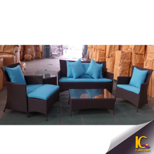 Trade assuranced recyclable long life-time cheap blue cushion rattan outdoor sofa