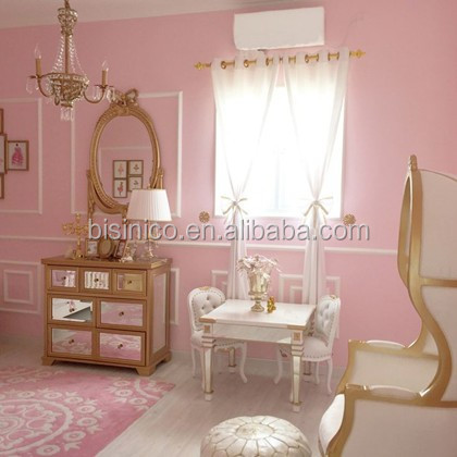 Princess White Gold Painted Childrens Dining Room Furniture Victoria Style Solid Carved Baby Dinning Set