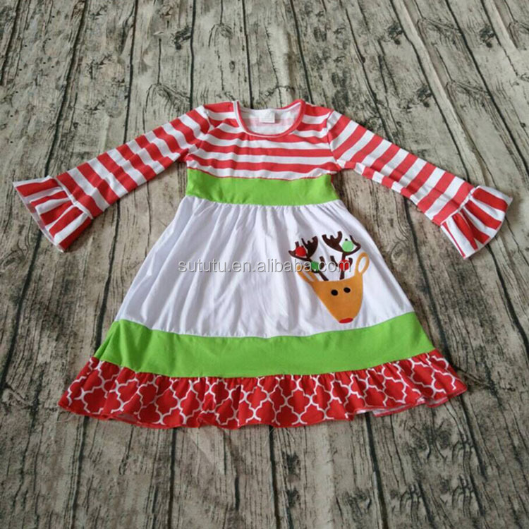 Children christmas Boutique red white stripes and ruffles white dress with deer designs cartoon embroidery design for kids