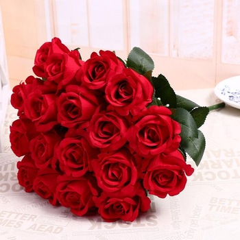 Grosir Pemandangan Buatan Rose Bunga Plastik Mawar Merah