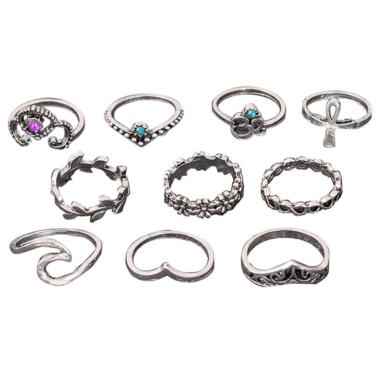 10pcs/Set Women Bohemian Vintage Stack Rings Knuckle Blue Rings Set