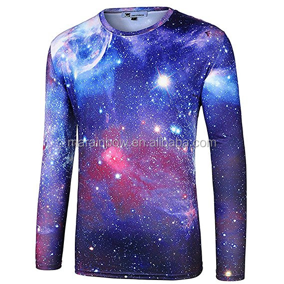 Space Galaxy Universe Printed Long Sleeve T Shirt Men's Full Sublimation Printed T-Shirt Fashion 3D Printed T Shirt Wholesale