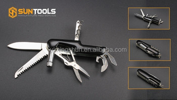 Stainless steel electrophoresis coating handle multi function folding knife with LED light
