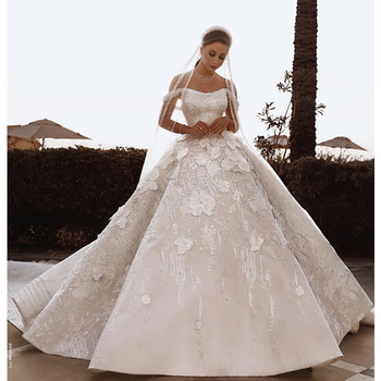 Luweiya China luxurious crystal lace off shoulder bridal wedding gowns dresses cheap ball gown wedding dress for women wedding