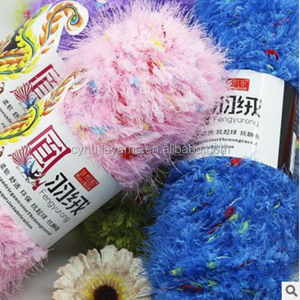 Fluffy Chenille Fancy Yarn For Knitting Scarf With Feather Yarn Tiwsted