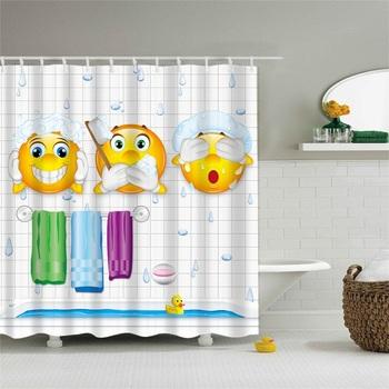 Multiple Sizes Anti Exposure Emoji Lovely Printing Water Retaining Shower Curtain