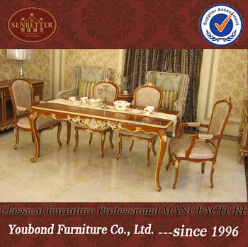 0050 European Design Dining Tables And Chairs, Wooden Golden Dining Table  Furniture