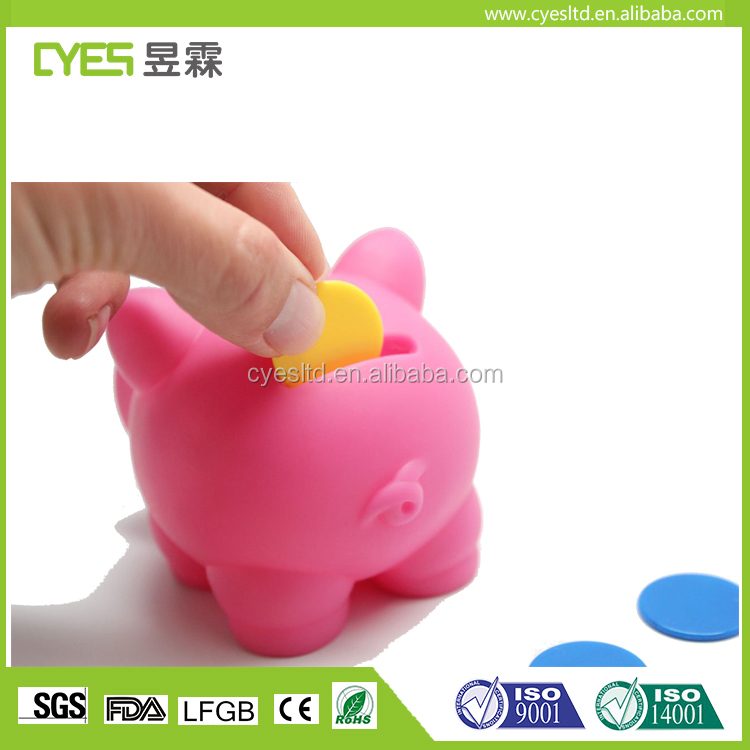 Low MOQ kids good price top quality cheap silicone piggy bank for sale
