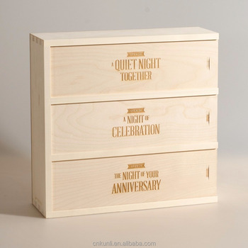 Wooden Wine Box Wedding Gift Three Nights For The Anniversary
