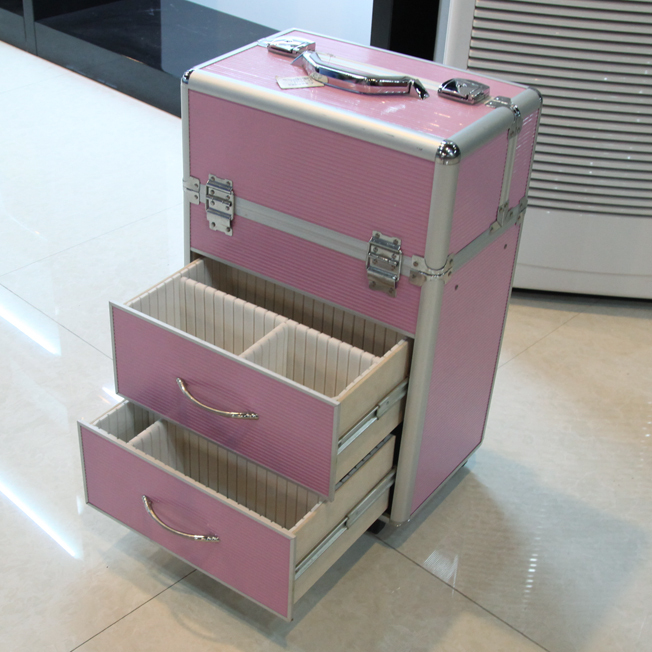 Prifessional Aluminum Rolling Makeup Case With Drawers