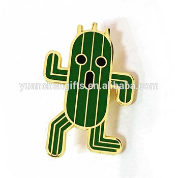 Hot sale cute gold metal cactus lapel pin cheap custom hard enamel pins with backing card
