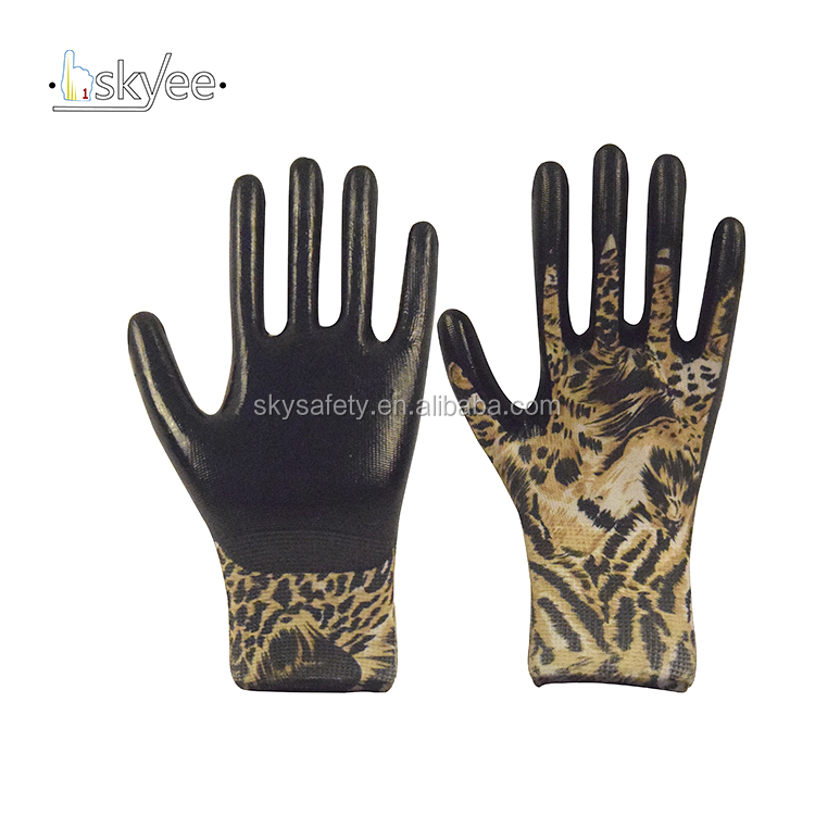New technology anti cut work anti sweat nitrile coated garden gloves
