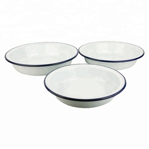 Practical High Quality Enamelware Set Round Enamel Pasta Rice Plates