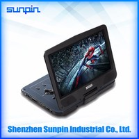 Best selling region free quality portable 10 inch portable dvd player with battery for all countries