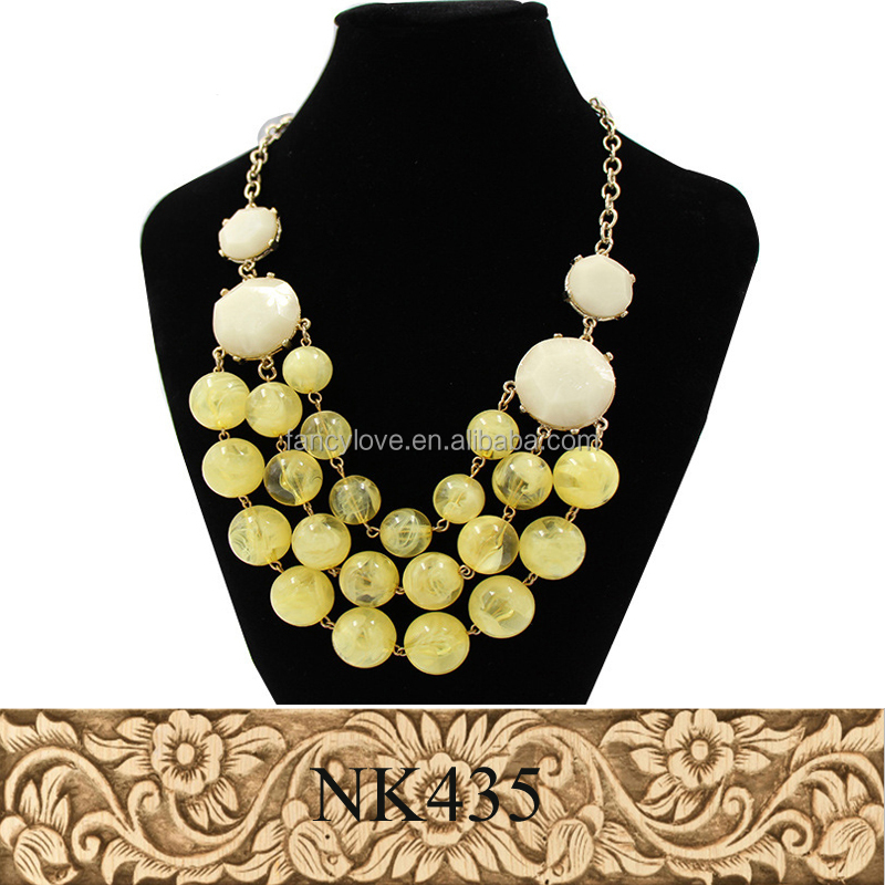 Shenzhen branded jewelry three layers acrylic cloud bead necklace accessories jewelry