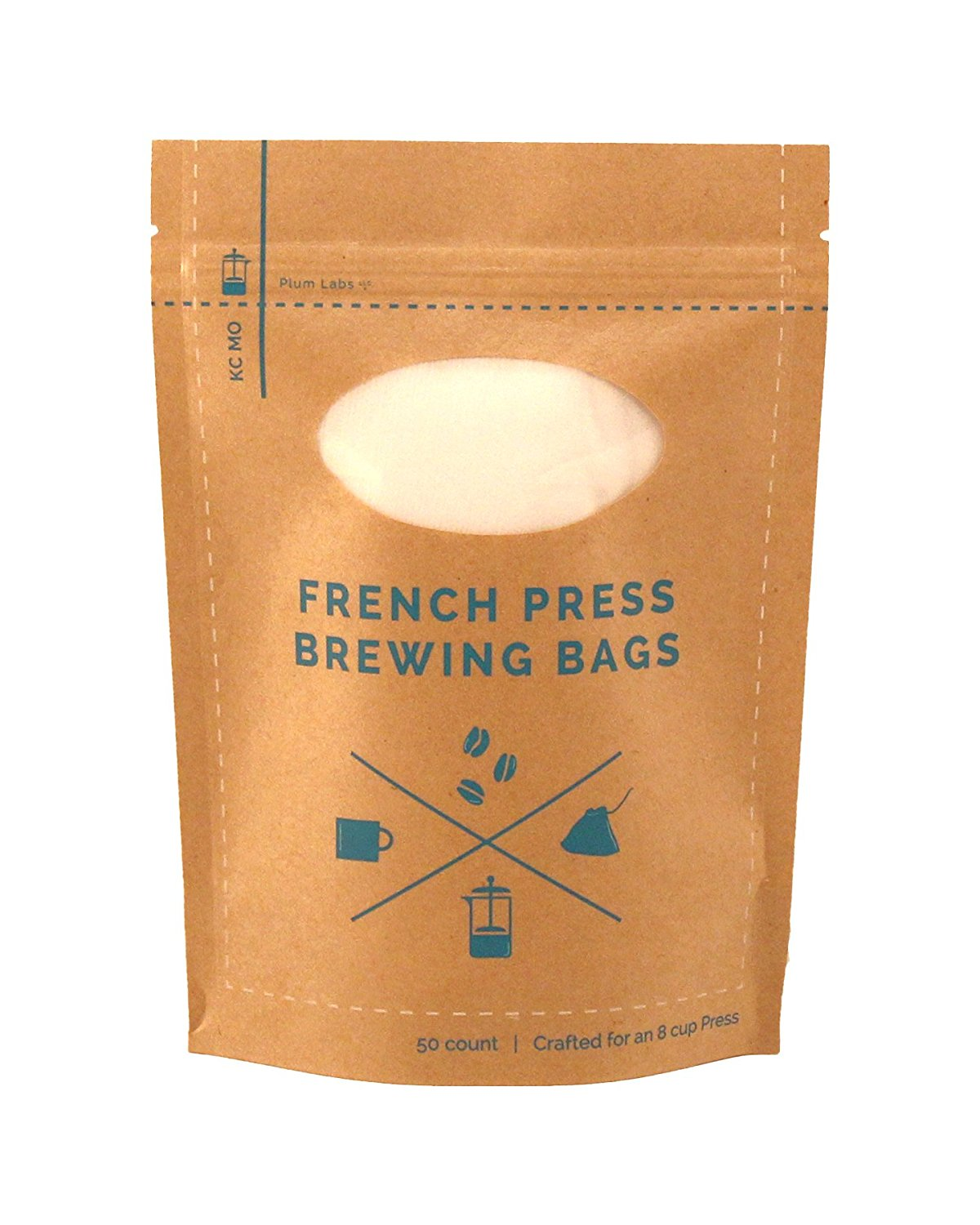 French Press Brewing Bags - 50 Easy To Use High Quality Fine Mesh Disposable Coffee Filters Designed For Your French Press - Perfect for Cold Brewing in Mason Jars, Hops Bags for Beer, (50 Pack)