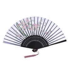 Складные вентиляторы в стиле ретро, китайский стиль, для танцев, свадьбы, ручная роспись, кружево, шелк, складные, ручной цветок, веер, abanico, но...(Китай)