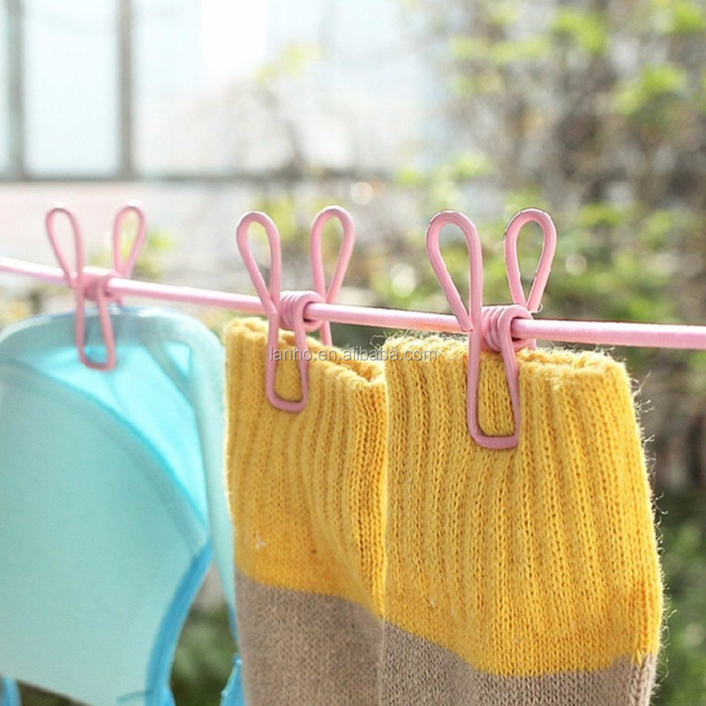 New Hotselling 185cm 12pcs Portable Multifunctional Drying Rack Clips Cloth Hangers Steel Clothes Line Pegs Clothespins