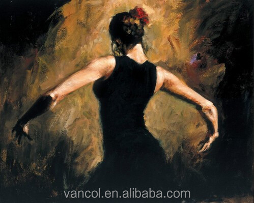 Wooden framed cheap flamenco dancer canvas painting, oil painting