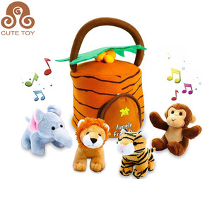 ICTI Factory custom Talking Jungle Animals Plush Toy Set plays sounds with Carrier for Kids