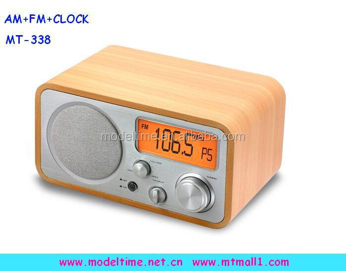 Digital Am Fm Alarm Clock Wooden Radio With Built In Speaker