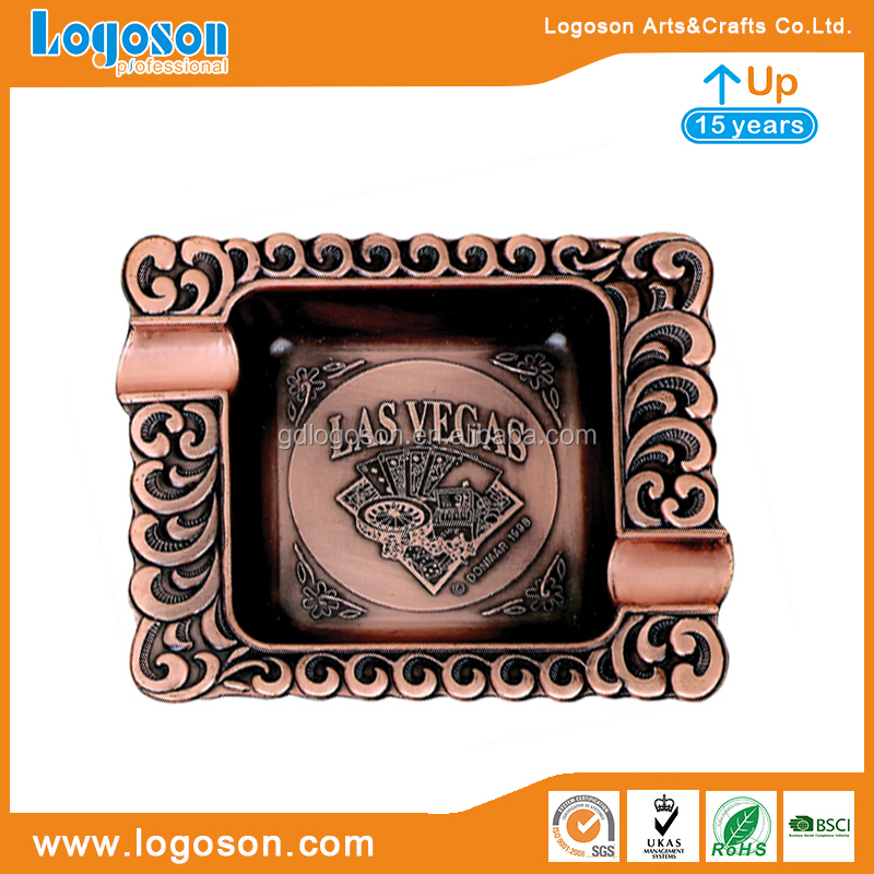 Factory Custom Souvenirs Carved Square/Rectangle Las Vegas Ashtray Antique Copper Ashtray