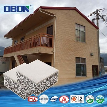 OBON Low Cost House Construction Material Polystyrene Concrete Sandwich  Wall Panel For Prefab House