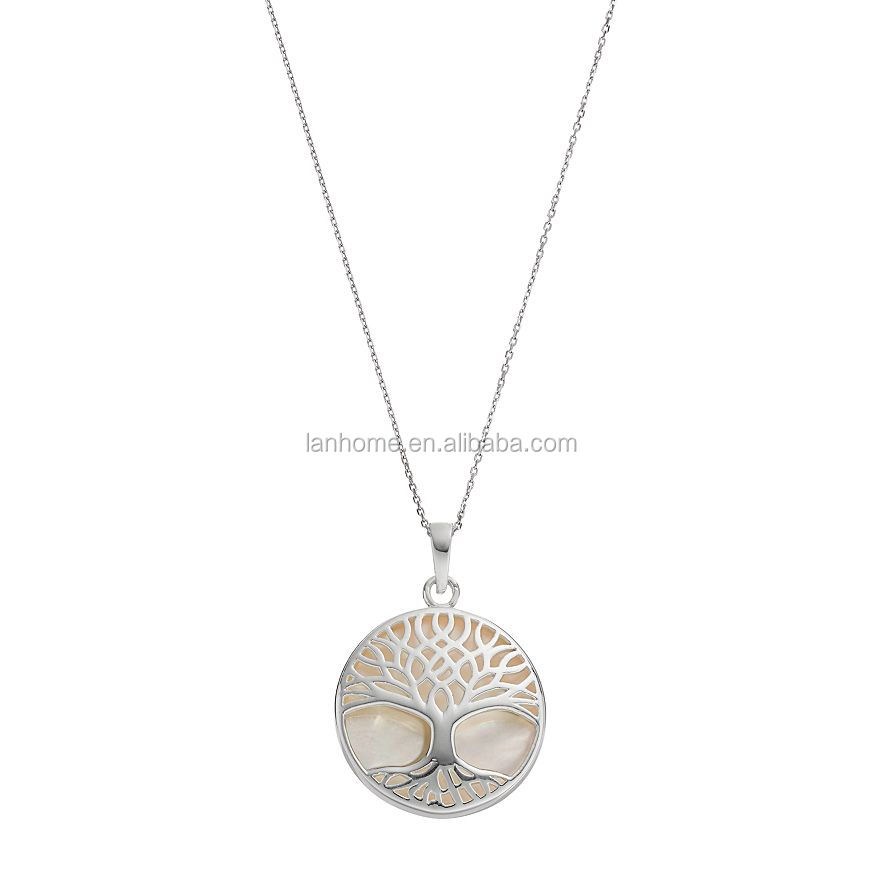 Pearl Mother-of-Pearl Round Tree of Life Disc Pendant