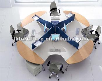 Style moderne rond de bureau de poste de travail pour quatre